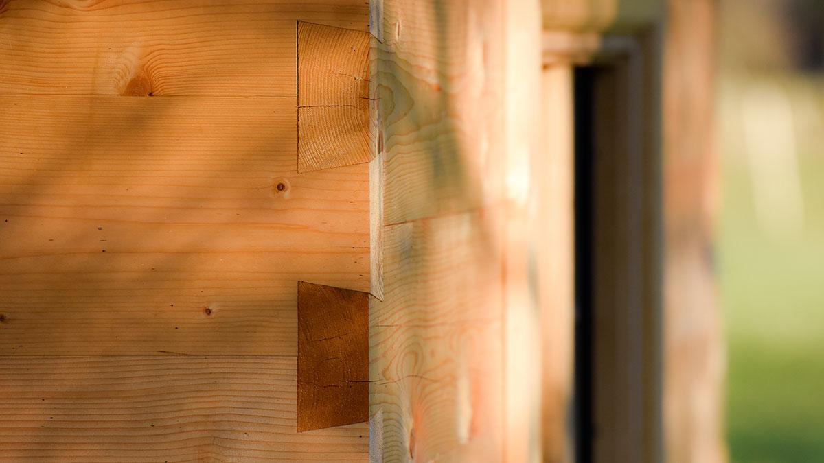 Blockhütte Blockbauweise