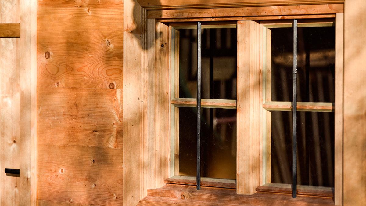 Blockhütte Fenster